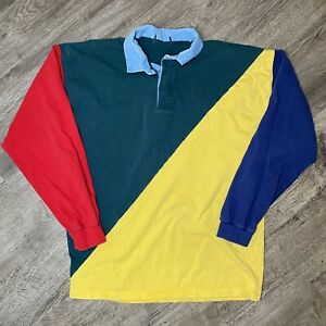 Vtg Mens Large Color Block Long Sleeve Rugby Polo Shirt Asymmetrical 80s 90s