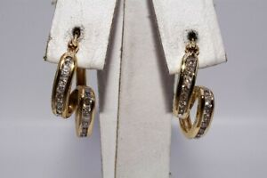 $1,500 .40CT NATURAL ROUND CUT WHITE DIAMONDS BYPASS HOOP EARRINGS 10K GOLD