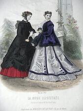 GRAVURE MODE 19e - MODE ILLUSTREE 1866 - MAGASINS DU LOUVRE - GRAND FORMAT