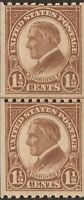 US Stamp - 1925 1 ½c Harding - Coil Line Pair MNH - Scott #605