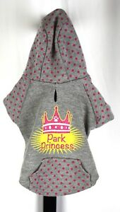 Park Princess Gray and Pink Polka Dot Puppy Dog Hoodie Top Paw Size XS
