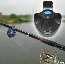 WO US Black Electronic LED Light Fish Bite Sound Alarm Bell Clip On Fishing Rod