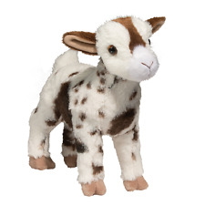"GERTIE Douglas 12"" stuffed animal GOAT WHITE BROWN SPOTS plush cuddle toy gerti"