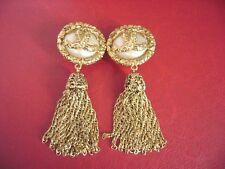 Chanel Vintage CC Logos pearl Dangle Swing large size Clips Earrings