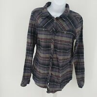 Columbia Womens Western Shirt Blue Red Plaid Button Cuff Sleeves Pearl Snap M