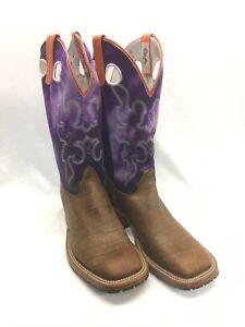 Men's Olathe Boots, Bison Square Toe w/Suede Purple Top Style 8020