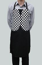 Wholesale Job Lot 10 Brand New Black Checked Mock Waistcoat Aprons Mens Womens