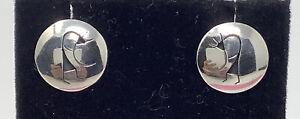 "Southwest Sterling Silver Kokopelli Circle Stud Earrings 5/8"" (2.29g)"