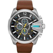 Diesel Men's Genuine Leather Brown Strap Black Dial Chronograph Watch DZ4399