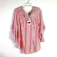 My Story Women's Blouse L Red White Striped Off Shoulder Boho NEW *Y