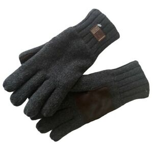 Timberland Mens Knit Gloves Gray Logo Casual Everyday Winter Suede Patch S/M New
