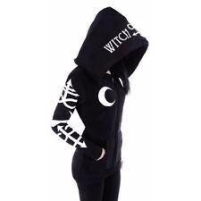 Women Sweatshirt Style Print Hood Gothic Punk Casual Long Sleeve Hoodies Top EB