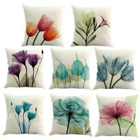 Watercolor Flower Linen Cushion Cover Waist Throw Pillow Case Home Sofa Decor
