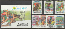 Stamps 1994 Madagascar various sports set 7 plus mini sheet MUH, nice thematics