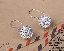 Crystal Rhinestone Disco Ball Silver Stud Hook Drop Dangle Earrings Jewelry Gift
