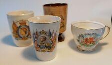 4 Vintage Royal British Memorabilia Mugs, Beaker, Cups Edward VIII to Charles