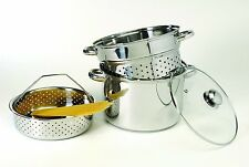 4 Pieces Pasta Cooker Steamer Stock Pot Strainer Drain Boil Stainless Steel Set