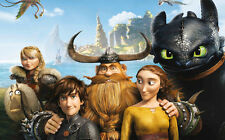 """How to Train Your Dragon 1 2 Wall Movie 21""""x13"""" Poster H23"""