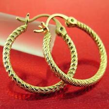 FS754 GENUINE REAL 18K YELLOW G/F GOLD LADIES CLASSIC ANTIQUE STUD HOOP EARRINGS