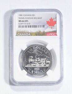 MS66 DPL 1981 Canada $1 Silver - Trans-Canada Railway - Graded NGC *125
