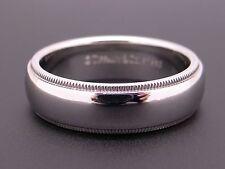 Tiffany & Co Mens Platinum PT950 6mm Milgrain Wedding Band Ring Size 8.5