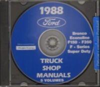 FORD 1988 Bronco, Econoline, F150-F350 & Super Duty Pick Up Truck Shop Manual CD