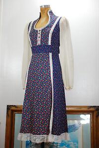 Vintage 70s Blue Floral Gunne Sax CottageCore Prairie Boho Calico Dress Size 11