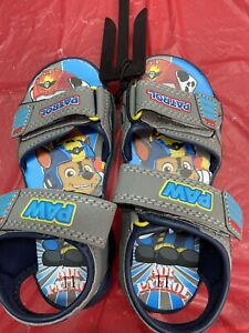 Paw Patrol Sandals Toddler Boy SZ 11 Gray And Blue Straps Chase Brand New