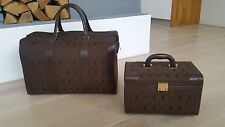 2 x Vintage Ferrari Leather Luggage Suitcase bag koffer VALISE Cavallino Print