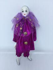 Harlequin Pierrot Jester Clown Mardi Gras Porcelain Doll Purple 7.5�