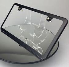 Slim 2 Hole Matte Black License Plate Frame w/ Aluminum Circle Type Screw Caps