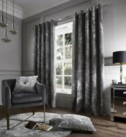 Catherine Lansfield Crushed Velvet eyelet Curtain & Cushions in Silver