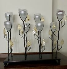 "14.5"" tall Yellow Candelabra metal flower sculpture tea-light Candle holder"