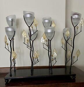 """14.5"""" tall Yellow Candelabra metal flower sculpture tea-light Candle holder"""