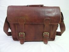 Vintage Leather Briefcase Messenger Bag Laptop Satchel Office School Shoulder 18