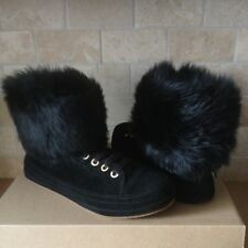 UGG Antoine Fur Black Suede Sheepskin Cuff Boots Shoes Size US 9 Womens