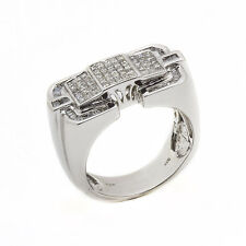 14K White Gold Diamond Cluster Mens Ring 2.00ct Size 10 14.5 Grams 100% REAL