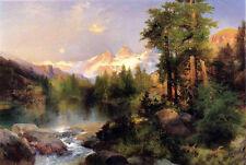 Large Oil painting Thomas Moran - The Three Tetons nice landscape & river canvas