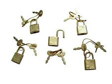 (5) NEW Small Metal Padlock Mini BRASS Luggage/Suitcase/Craft Diary Box Lock Key