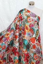 100% Charmeuse Silk Fabric Tropical Flower M52 Per Yard