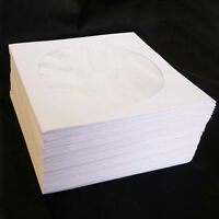 Mini 100x Disc CD White Paper Sleeves DVD CD-R Case Flap Envelope Protector Box