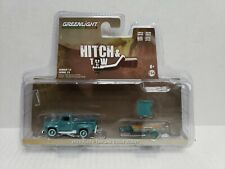 Rare Greenlight Hitch & Tow 1954 Ford F-100 & Utility Trailer Blue Green Machine