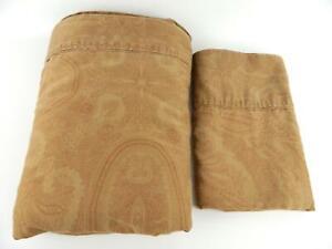 Vintage Ralph Lauren Doncaster Camel Sateen Paisley King Flat Sheet & Pillowcase