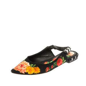 RRP €590 DOLCE & GABBANA Slingback Shoes EU 37 UK 4 US 7 Floral Made in Italy
