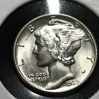 1939 SILVER MERCURY DIME BRILLIANT UNCIRCULATED COIN