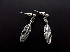 A PAIR OF CUTE LITTLE TIBETAN SILVER FEATHER  THEMED POST EARRINGS. NEW.