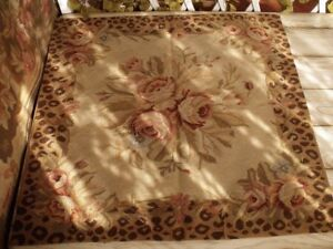 2.5'Vintage  French Aubusson Area Rug Animal Print Rose Bouquet Chic Home Decor