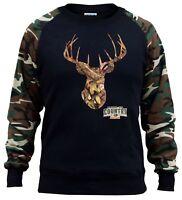 New Men's Mossy Oak Deer Camo Raglan Sweatshirt Hunting Wildlife Animal Outdoors