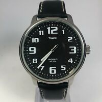 Timex Indiglo Mens Easy To Read Black Leather Black Dial Quartz Analog Watch