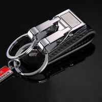 Stainless Steel Genuine Leather 2 Loops Keychain Key Chain Key Ring Holder